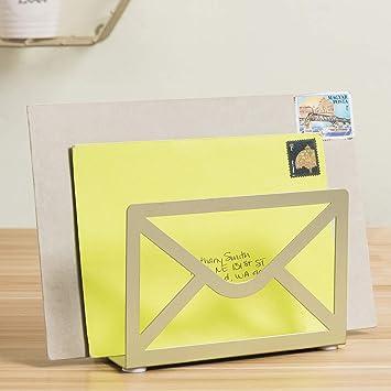 MyGift Modern Cutout Envelope-Design Black Metal Desktop Letter Holder