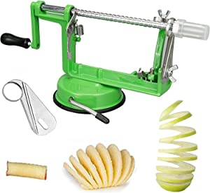 Sinnsally Apple Peeler,Apple Slicer and Corer Tool,Apple Peeler Slicer Corer Cutter 3 in 1 Slinky Machine Durable Heavy Duty Die Apple Peelers With Suction base (Green)
