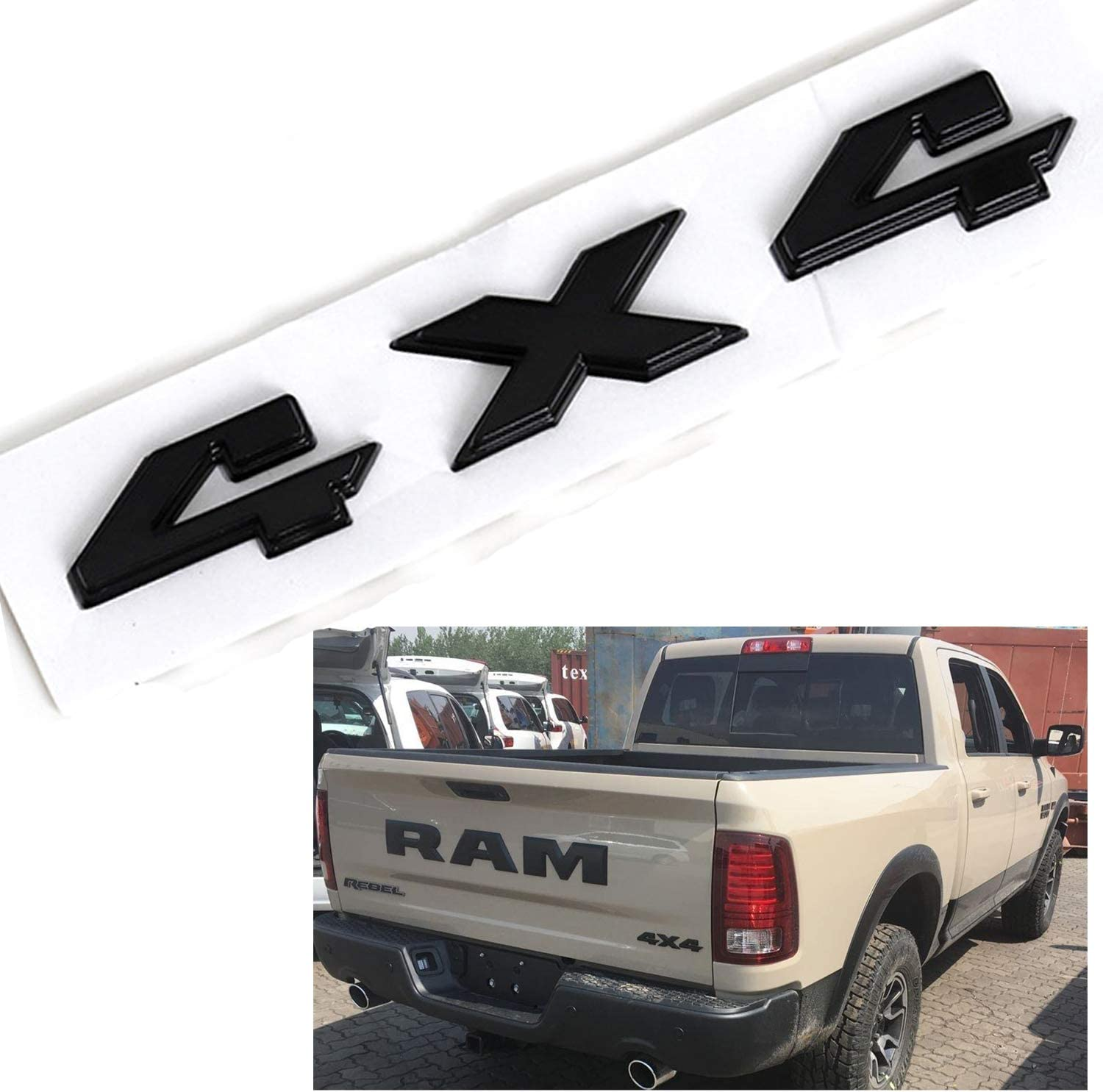8.8 Inch 4x4 Emblem,1Pack Black Badge Chrome Decal Sticker Replacement for Dodge Ram 1500 2500 3500,Jeep Grand Cherokee Compass Wrangler Black