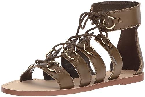 9263fe98df7c Nine West Women s Tayah Leather Gladiator Sandal Dark Green 5 ...