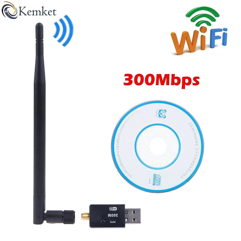 Kemket- Adaptador WiFi USB, 300Mbps, 150Mbps con antena / conexión inalámbrica / adaptador USB 2.0/protección Mini 802. IIN / conexión SMA / funciona con PC y MAC | para Windows 10/Win 8/Windows 7/OSx 300 Mbps
