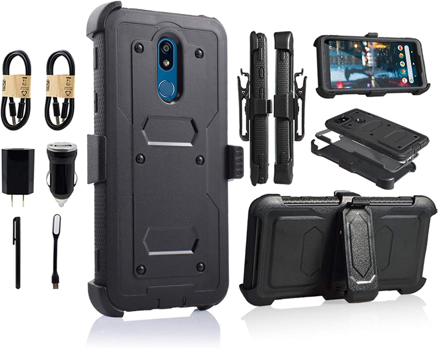 for LG Stylo 5 Case,LG Stylo 5 Phone Case with Kickstand,[Built-in Screen Protector] Heavy Duty Full-Body Armor Swivel Belt Clip Protective Case Cover [Accessory Pack] (Black)