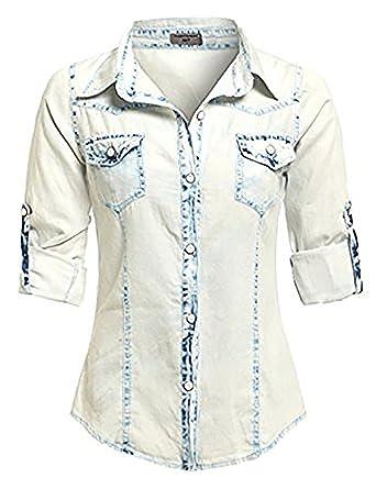 ef27afb2ea3 SS7 Women's Denim Shirt, Bleach Wash, Size 8-14: Amazon.co.uk: Clothing