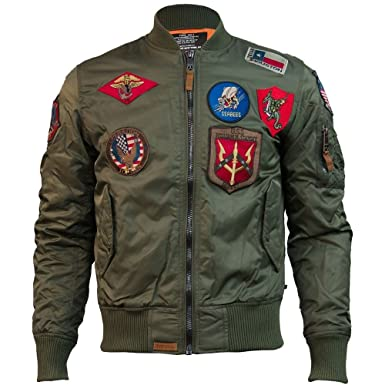 119770b4c Top Gun MA 1 Nylon Bomber Jacket with Patches Olive at Amazon Men s ...