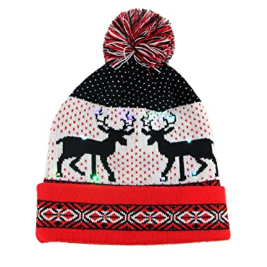 17d014de072 Amazon.com  Vakabva LED Womens Beanie Hats Winter Beanie Light Up Knit Hat  Beanie for Women One Size Parties (Red)  Home   Kitchen