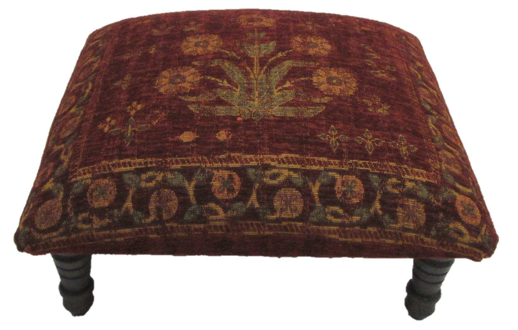 Corona Decor Hand-Woven Tones Footstool, Floral Design, Red