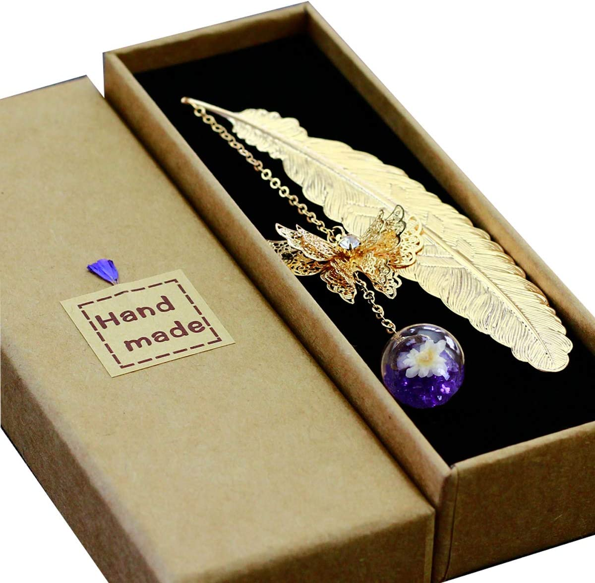 Toirxarn Metal Feather Bookmark,with 3D Butterfly and Glass Beads Eternal Dry Flower Pendant. Ideal Gift for Reader, Woman and Kids.(Golden Feather Purple White Flower)