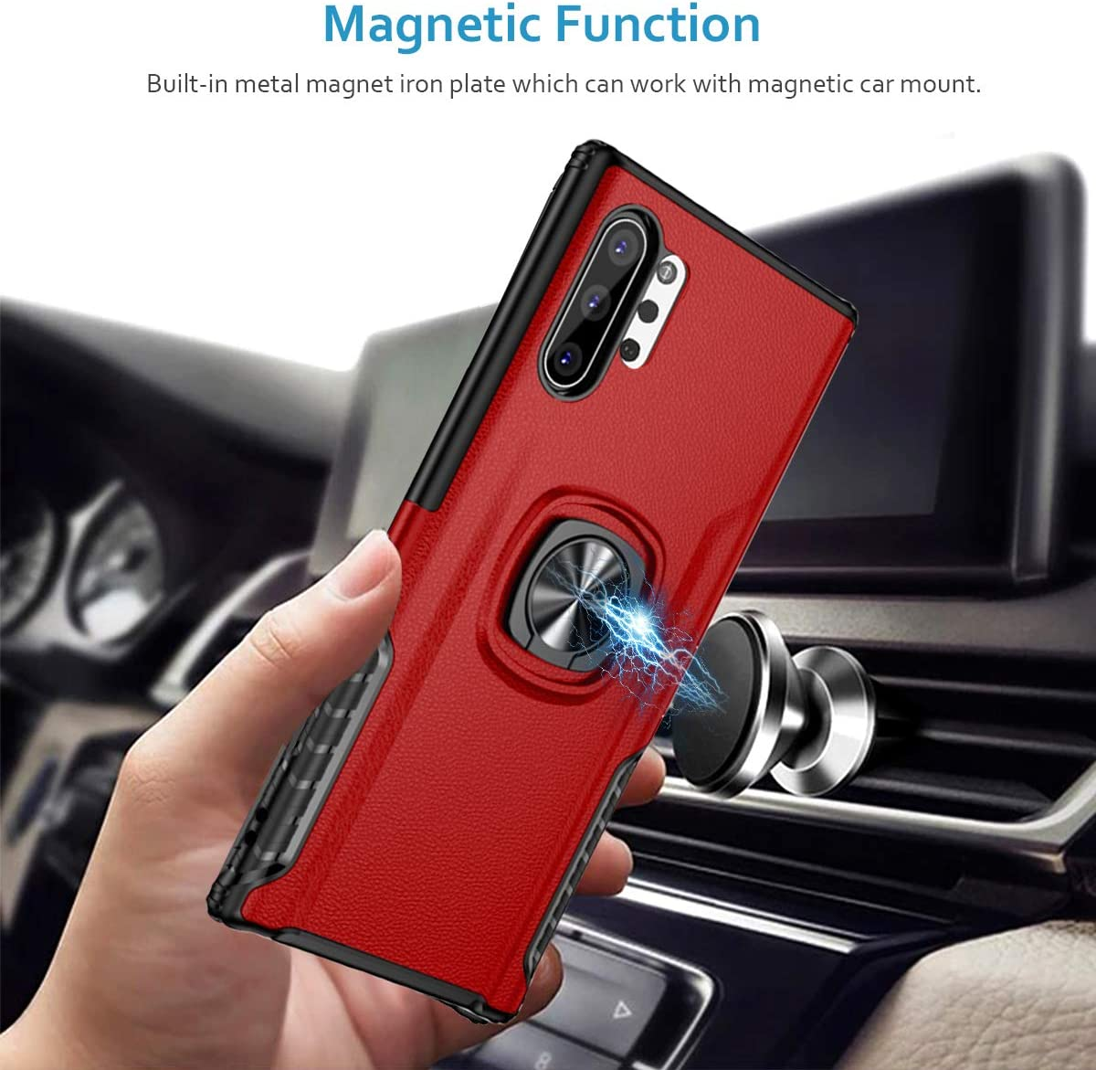 Stylish Dual Layer Hard PC Back Case with 360 Degree Rotation Finger Ring Grip Kickstand Magnetic Car Mount for Galaxy Note 10 WATACHE Galaxy Note 10 Plus//Pro//5G Case Plus,Red