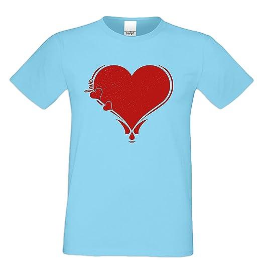 T Shirt Herz Farbe Hellblau Romantisches Shirt Zum Valentinstag