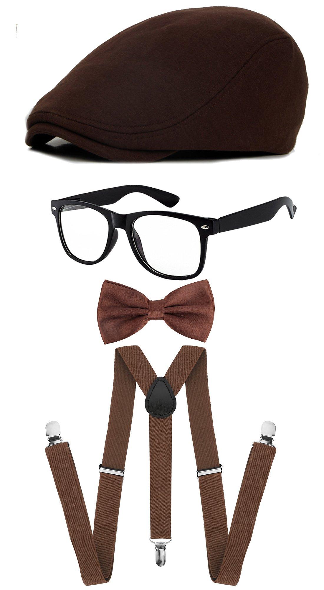 Classic Gatsby Newsboy Ivy Hat,Suspenders Y-Back Trouser Braces,Pre Tied Bow Tie,Non Prescription Glasses (Cotton - Coffee)