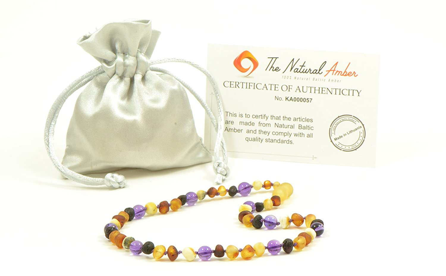 Unisex Hand-Made from Certified Baltic Amber Beads Amber Teething Necklace for Baby Amber Jewelry 12.6-14.1 inches TheNaturalAmber B41-M1 12,6 inch Raw Baltic Amber and Amethyst Beads