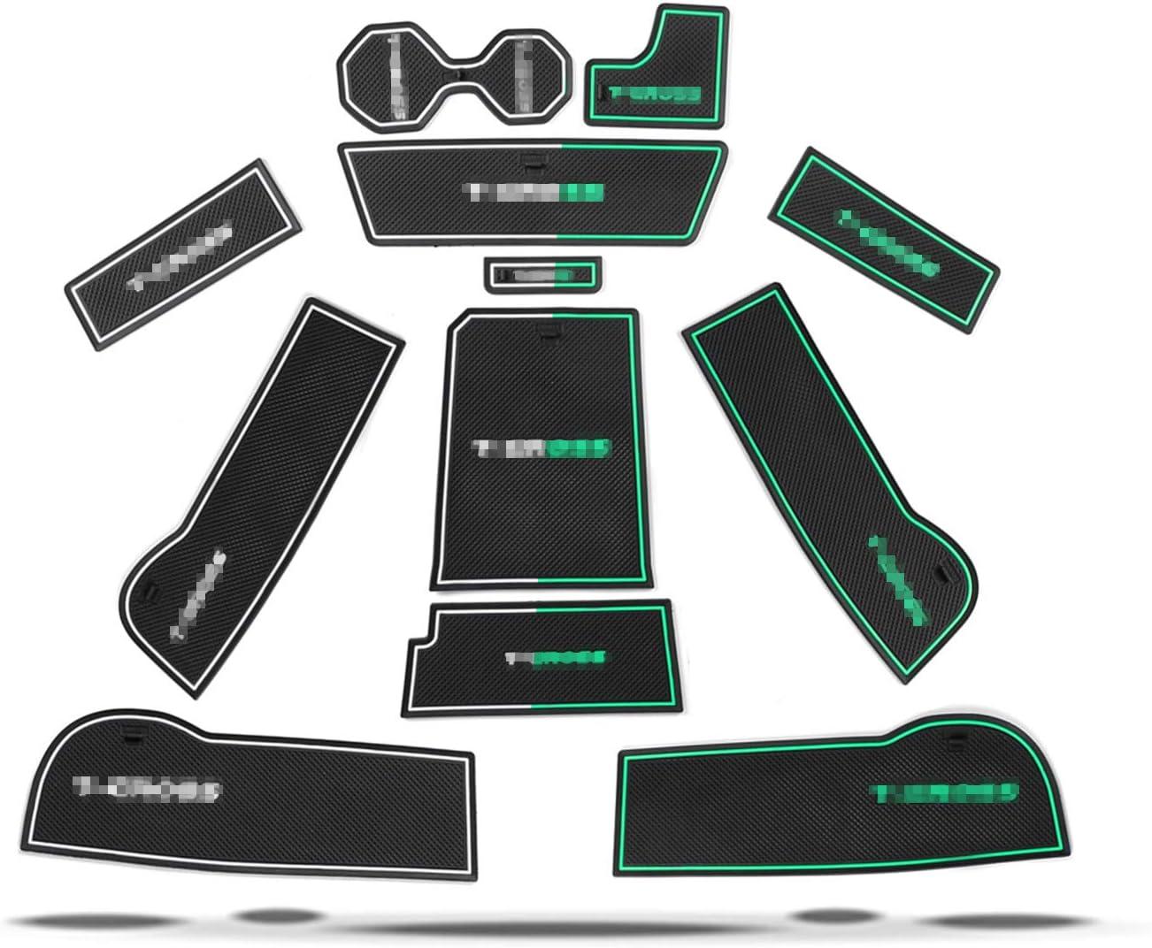 T/ür Becherhalter Slot Matten RUIYA T-Cross Antirutschmatten Wei/ß Auto Innere T/ürschlitz Arm Box Aufbewahrung Matten Pads Gummi Antirutschmatten