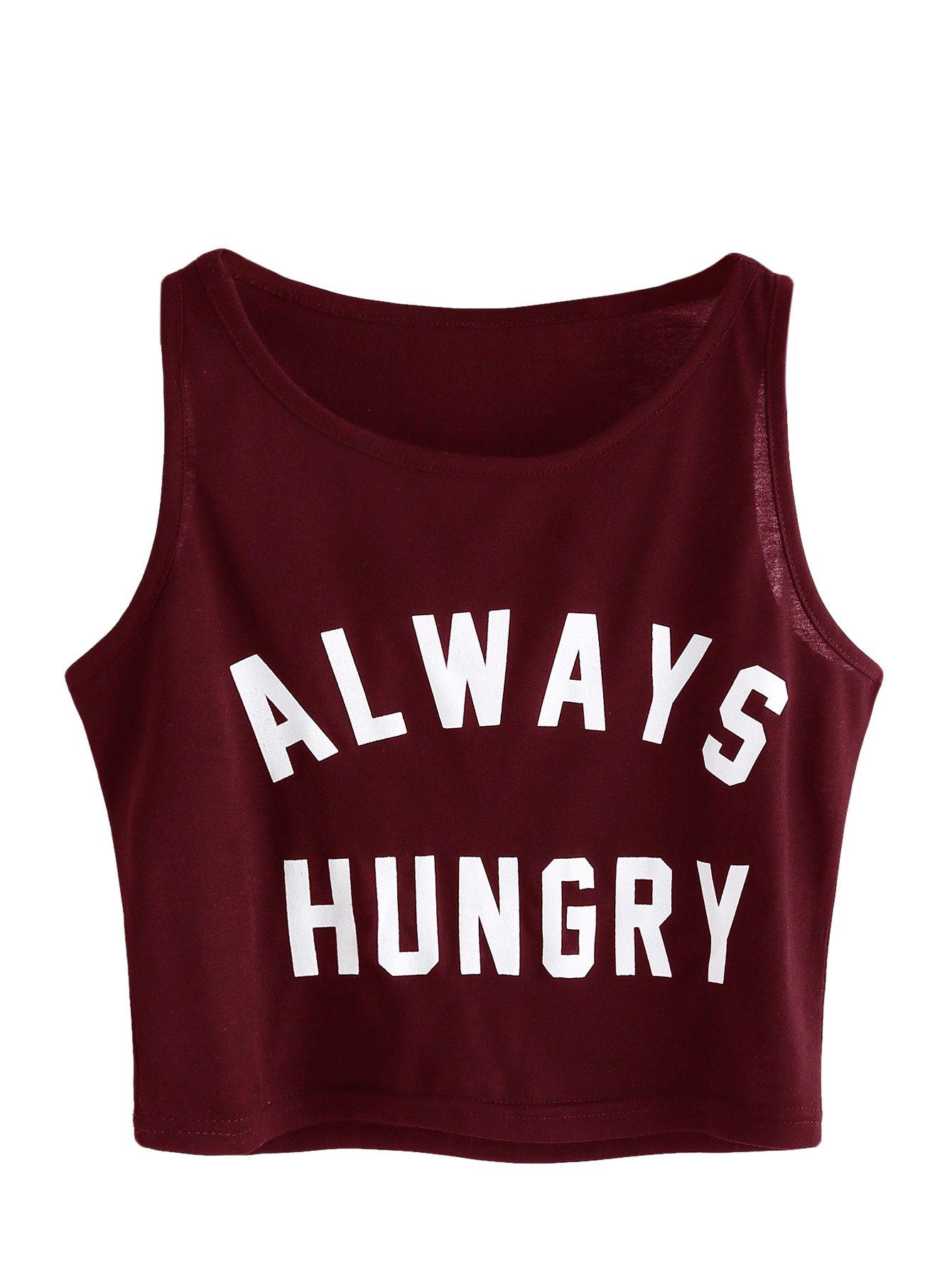 SweatyRocks Women's Summer Sleeveless Letter Print Casual Crop Tank Top Shirts Burgundy S