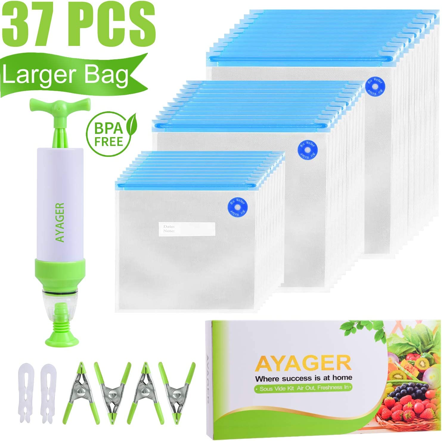 Sous Vide Bags 30 Reusable Vacuum Food Storage Bags for Sous Vide, 3 Sizes Large Sous Vide Bags with Pump, 4 Sous Vide Bag Clips for Food Storage and Chefsteps, Anova, Joule, Wancle Sous Vide Cooking