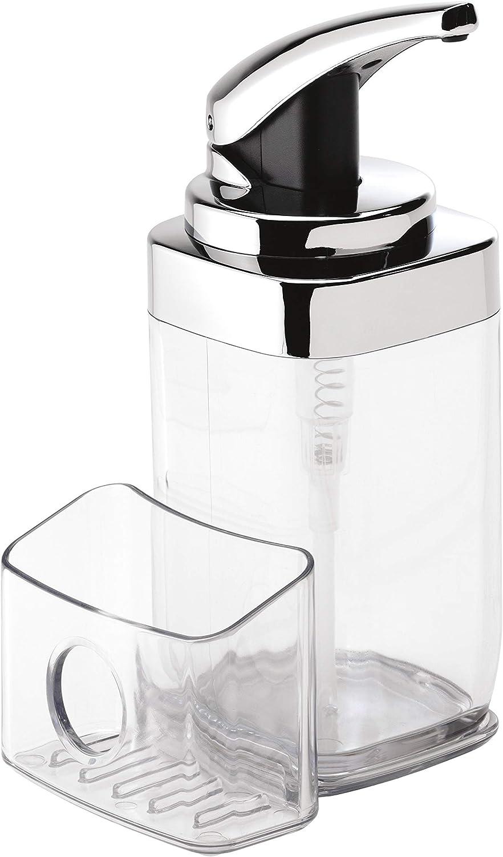simplehuman 22 oz. Square Push Pump Soap Dispenser with Sponge Caddy, Chrome: Home & Kitchen