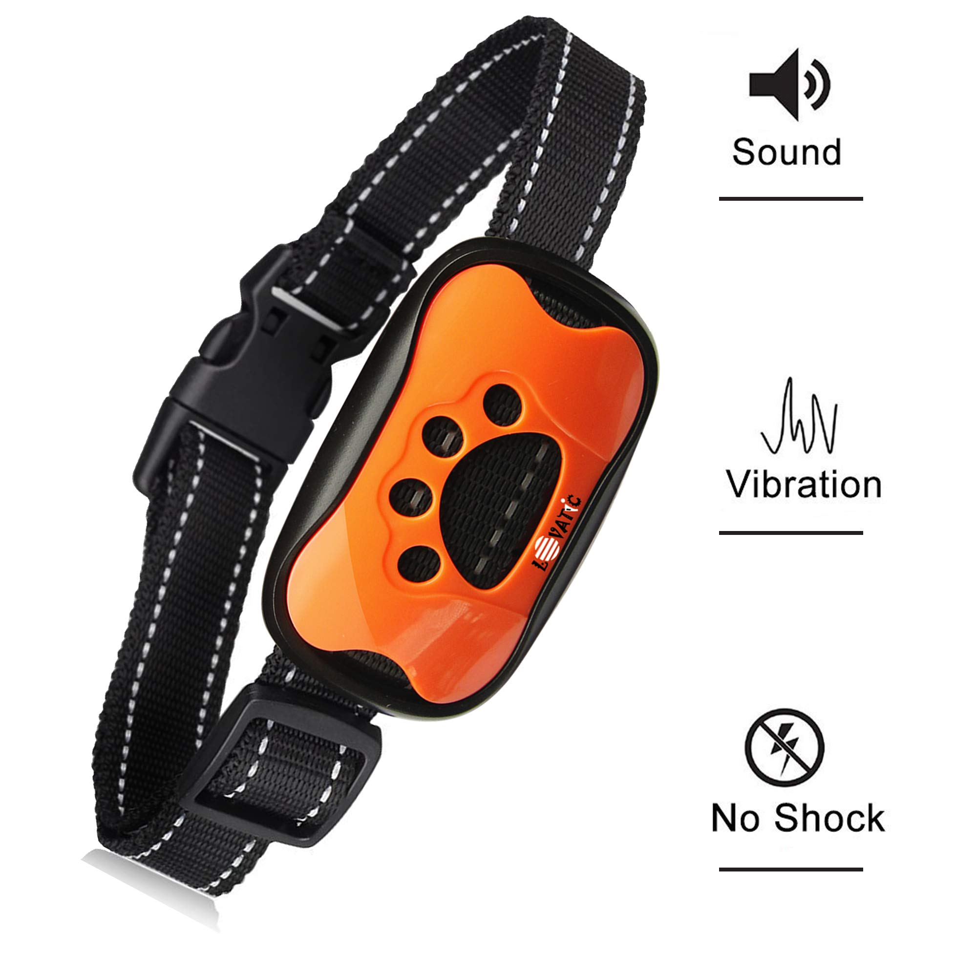 LOVATIC Anti Bark Collar - Humane, No Shock Dog Bark Collar - Training Collar Control Barking Vibration & Sound Stimuli - 7 Levels Sensitivity Adjustment