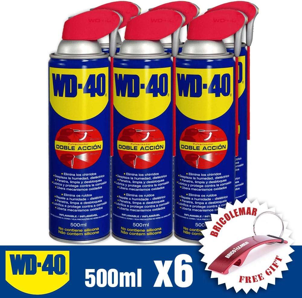 Lubricante Limpiador WD40 Doble Acción 500ml (Pack 6 Unidades + Llavero Destapador Bricolemar!): Amazon.es: Bricolaje y herramientas