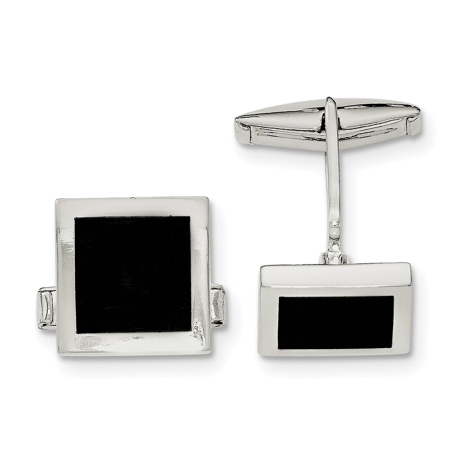 ICE CARATS 925 Sterling Silver Black Onyx Cuff Links Mens Cufflinks Link Fine Jewelry Dad Mens Gift Set by ICE CARATS