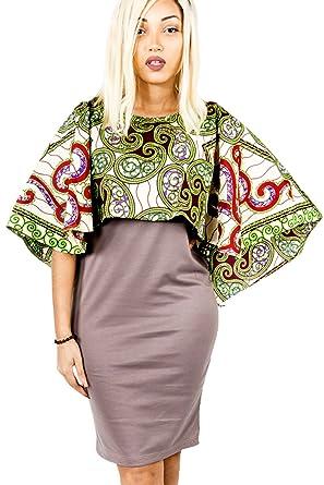 66322dd7b67 MODE ACP Robe Volante Africaine en Tissu Strech et pagne Wax Cousu Main   Amazon.fr  Vêtements et accessoires