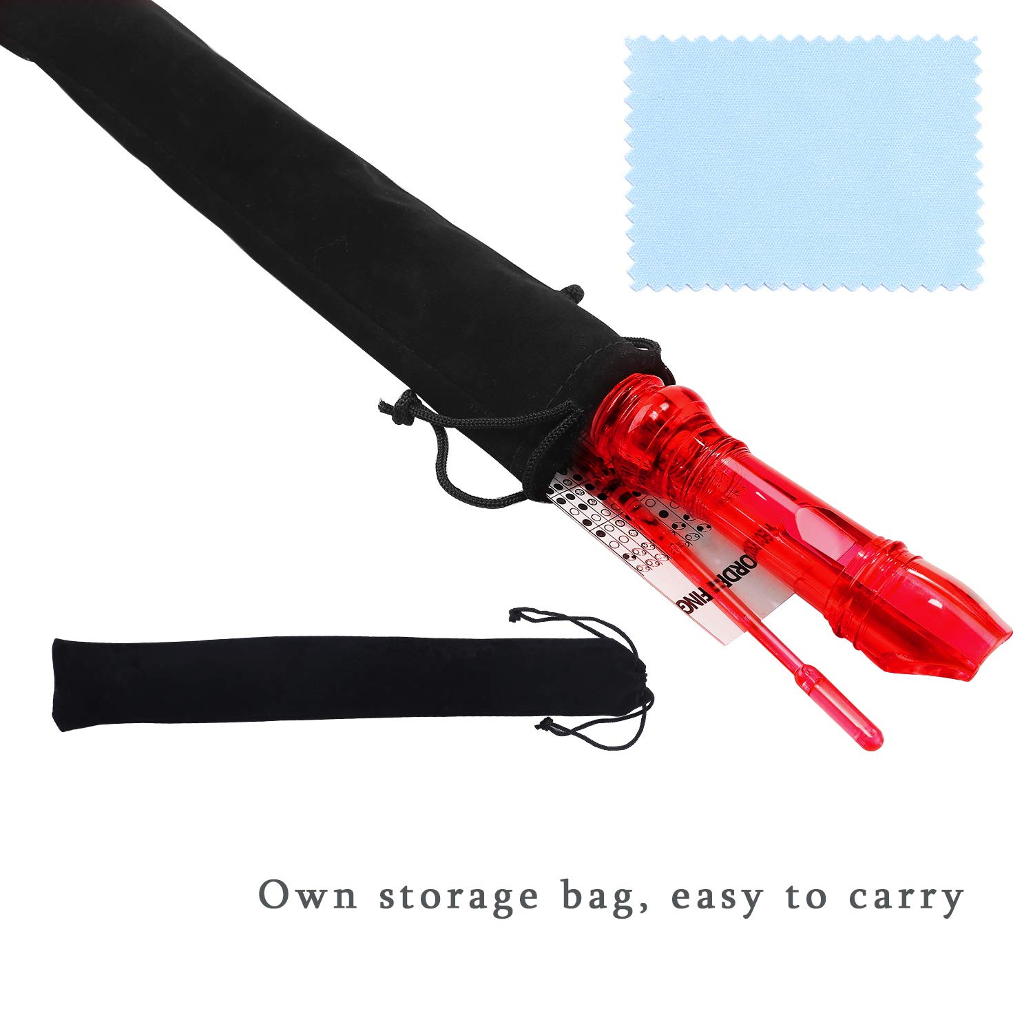 Lot-Yes 8-Hole Soprano Descant Recorder with Cleaning Rod + Case Bag Music Instrument (Crystal Red)