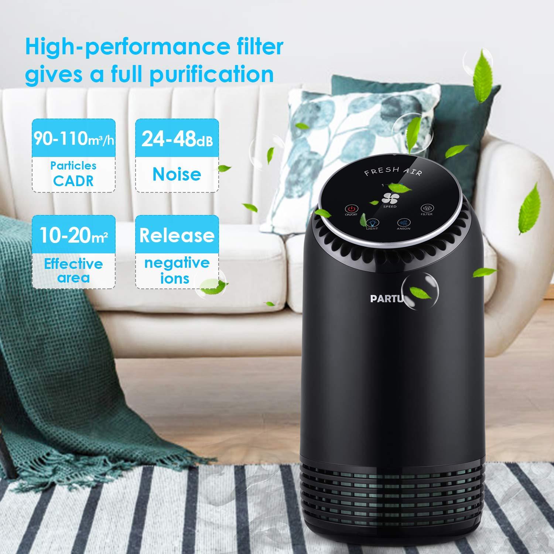 Filtrer Poussi/ère Particule Pollen Bact/érie Odeur Purificateur dair Ultra Silencieux 24-48dB CADR 90-110m/³//h 99.97/% Filtration 3 /Étapes Pr/éfiltre//Filtre HEPA//Charbon Actif avec LED Lampe Ambiance