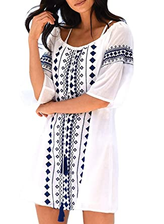 78d476b1cfa Elapsy Womens Sexy V Neck Tassel Pom Pom Trim Embroidered Swimsuit Cover up  Crochet Tunic Tops Bikini Beach Dress White at Amazon Women's Clothing  store:
