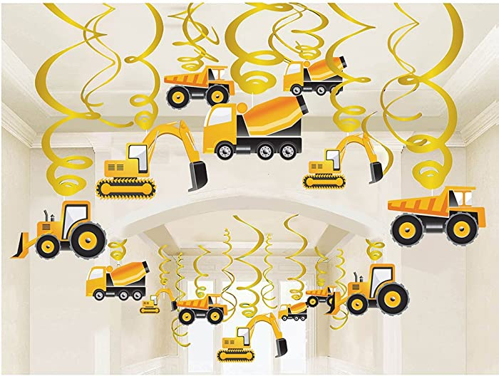 LINDOO 30PCS Construction Zone Party Supplies - Car Birthday Hanging Swirl Decorations