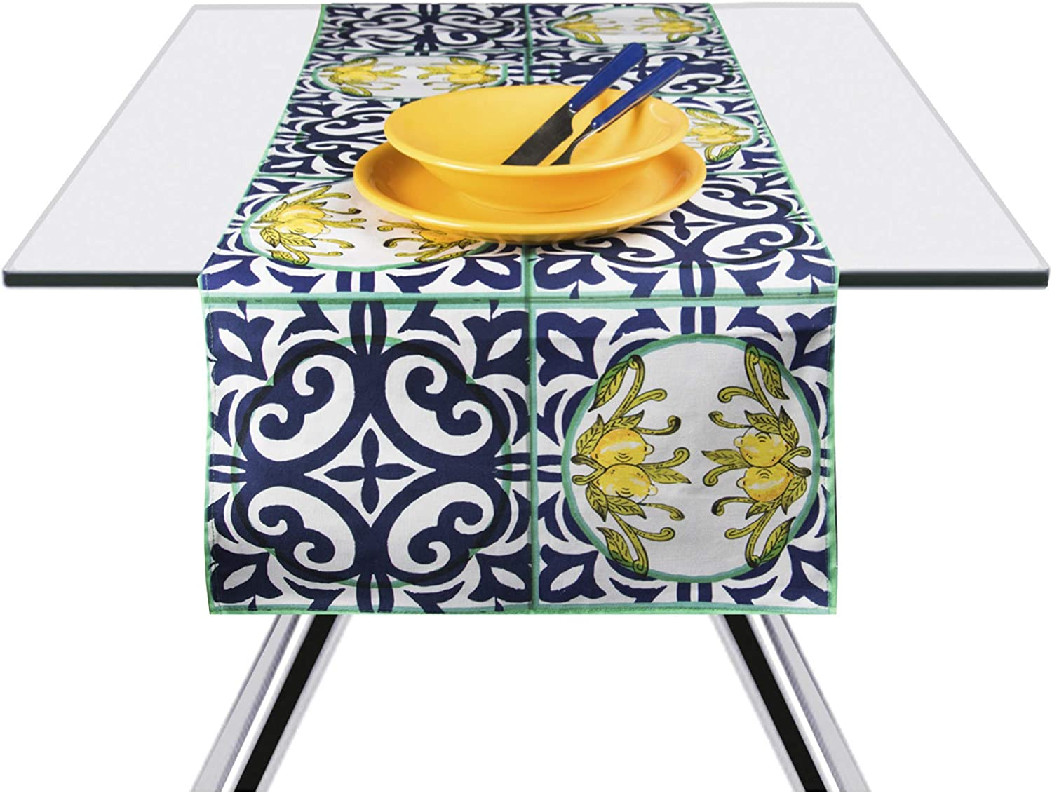 Yellow and Blue 45 x 140 cm Excelsa Amalfi Table Runner 100/% Cotton