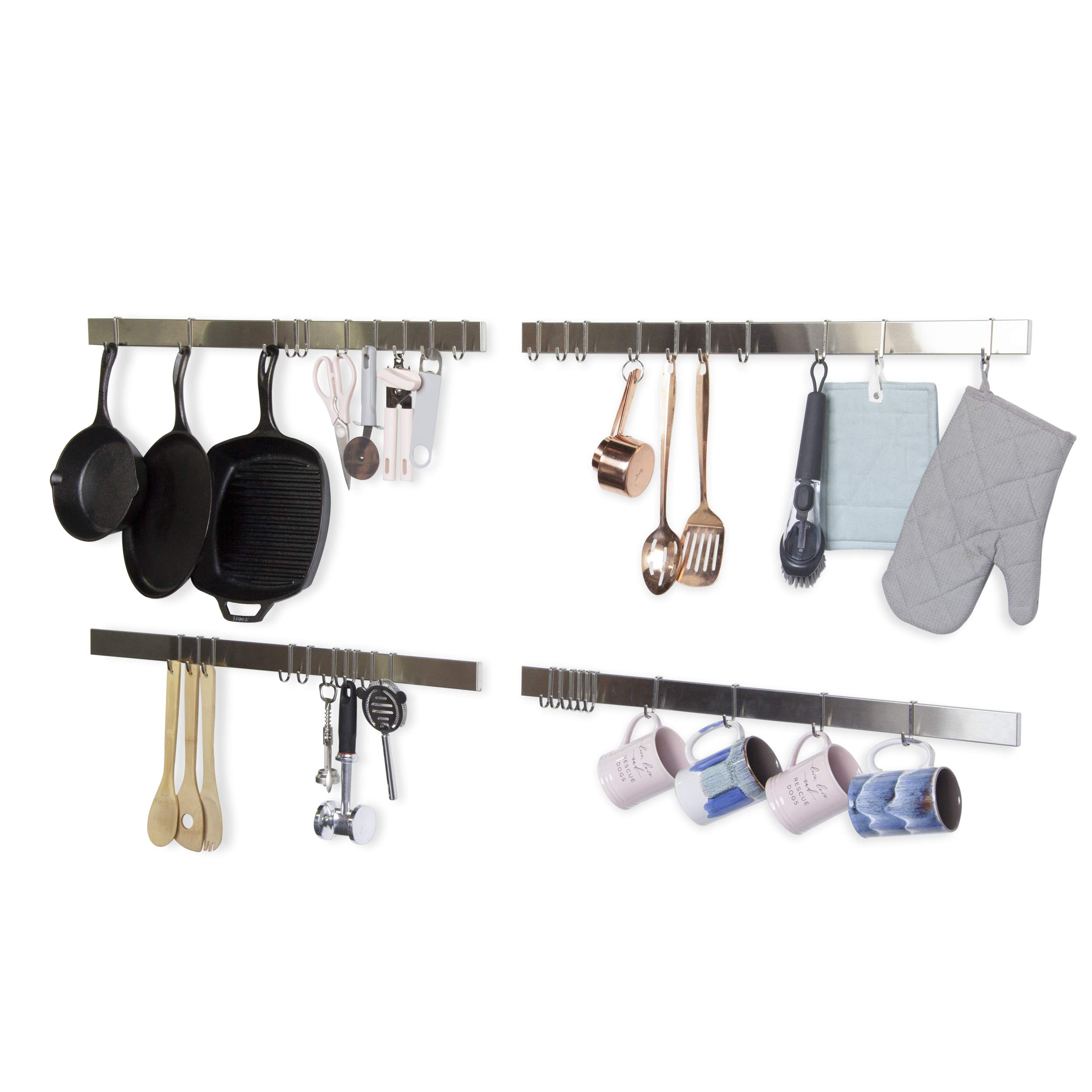 Wallniture Kitchen Bar Rail Pot Pan Lid Rack Organizer Chrome 30 Inch Set of 4