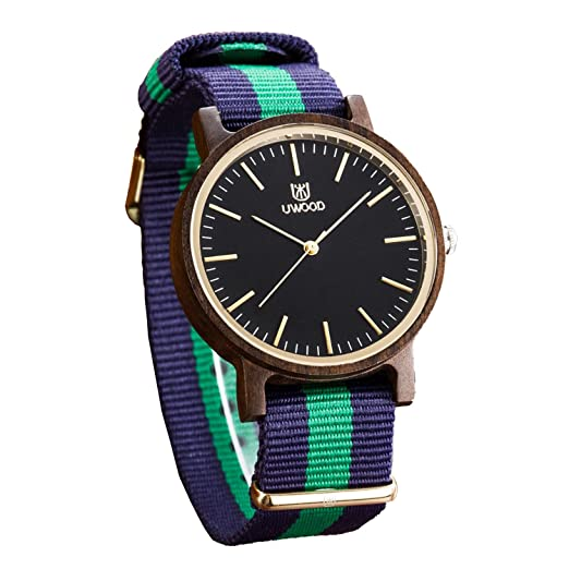 0b0ad34942cef Amazon.com  Uwood Red Sandal Wood Watch Men Nylon Band Fashion ...