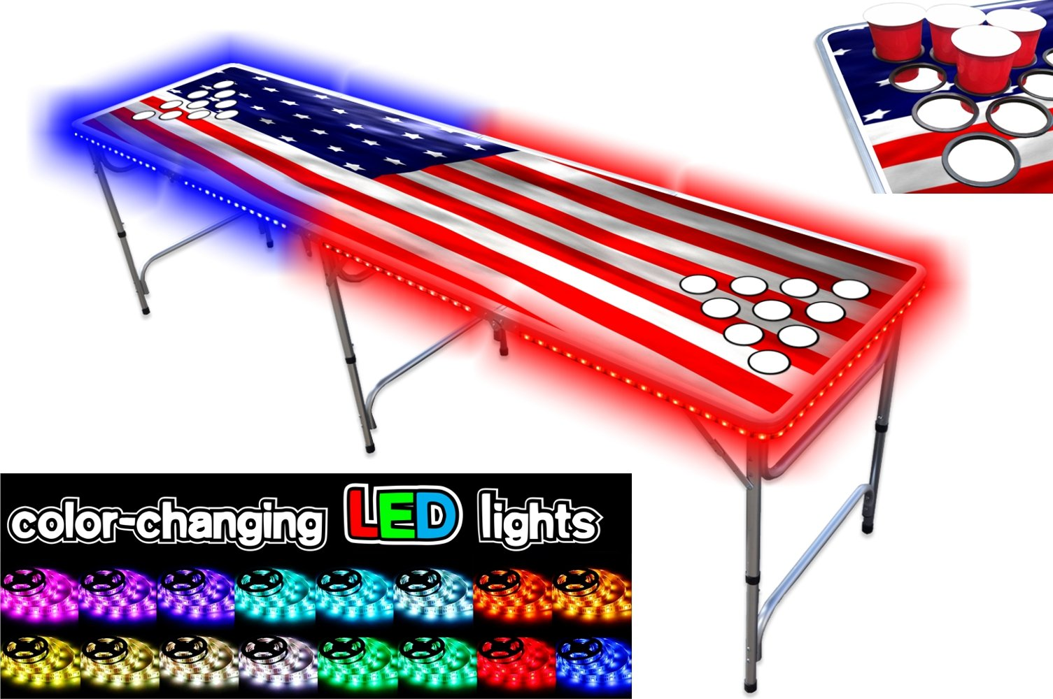 PartyPongTables.com 8-Foot Beer Pong Table w/Cup Holes & LED Lights - USA Edition