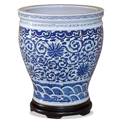 Amazon Com Chinafurnitureonline Porcelain Fishbowl 15 Inches
