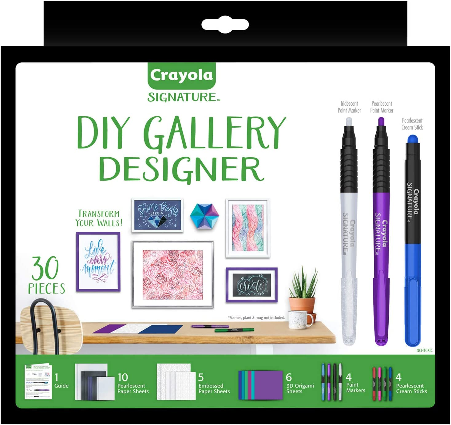 Amazon Com Crayola Diy Gallery Wall Art Set Origami Kit Craft Kit Over 30piece Gift Toys Games