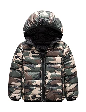 88f11e23feab Amazon.com  Kids Boys Girls Puffer Down Jacket With Hood Light ...