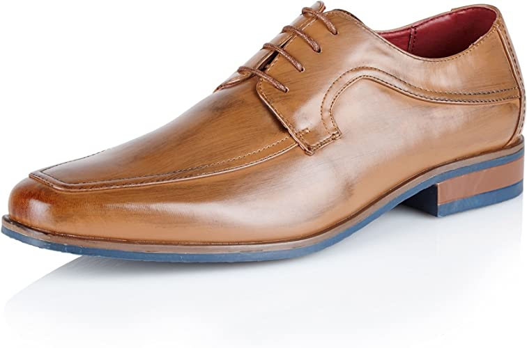 MENS LEATHER SMART LACE UP TAN FORMAL CASUAL WEDDING OFFICE SHOES SIZE