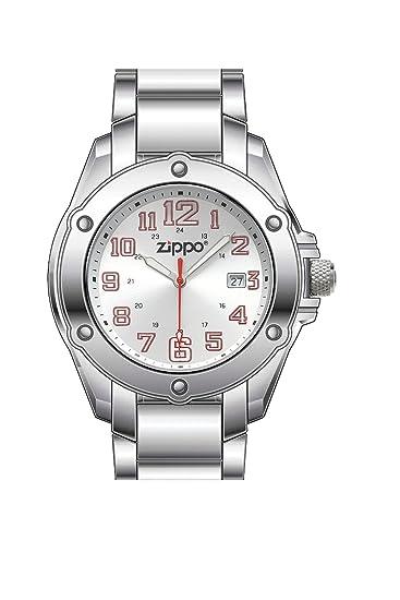 Zippo 45024 - Reloj analógico de cuarzo unisex con correa de acero inoxidable, color plateado
