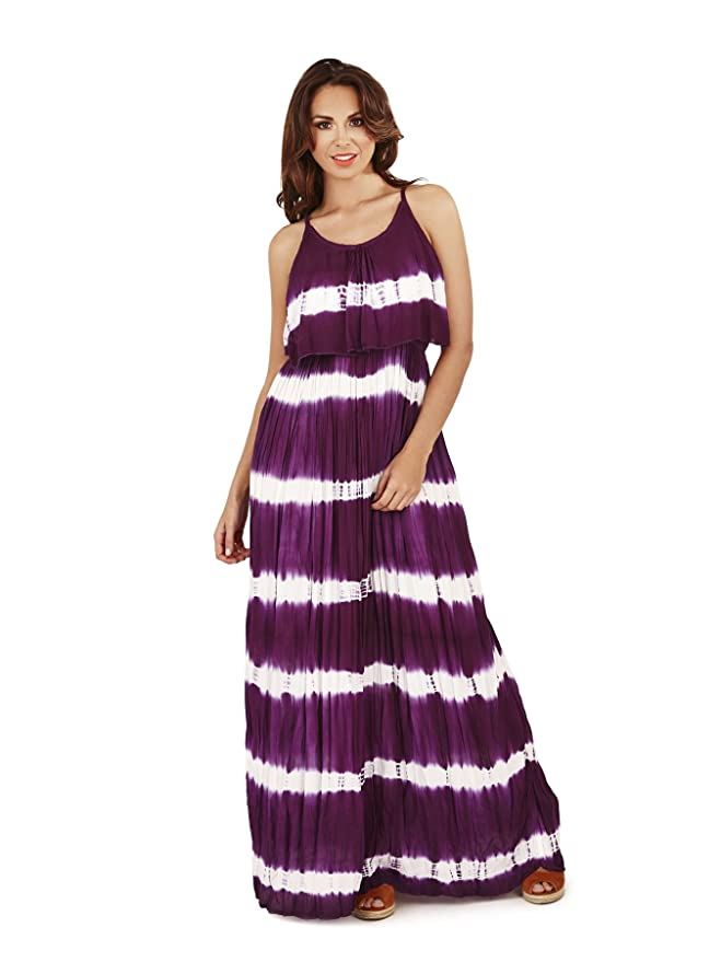 Damen, Pistachio, Schnurbatik-gestreiftes, faltenüberlagertes Maxi-Kleid:  Amazon.de: Bekleidung