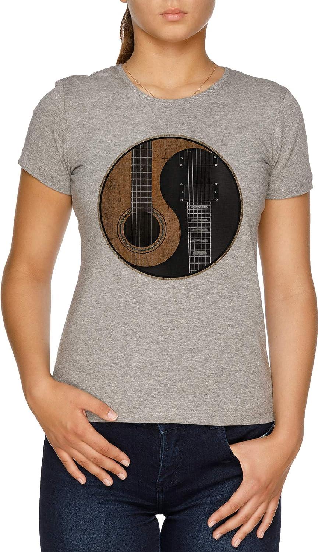 Vendax Yin Yang Guitarra Camiseta Mujer Gris: Amazon.es: Ropa y ...