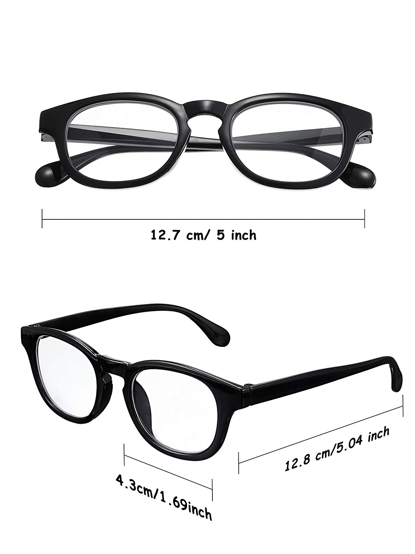 648a2519fa155 Amazon.com: 4 Pairs Retro Clear Lens Glasses Black Frame Clear Lens ...