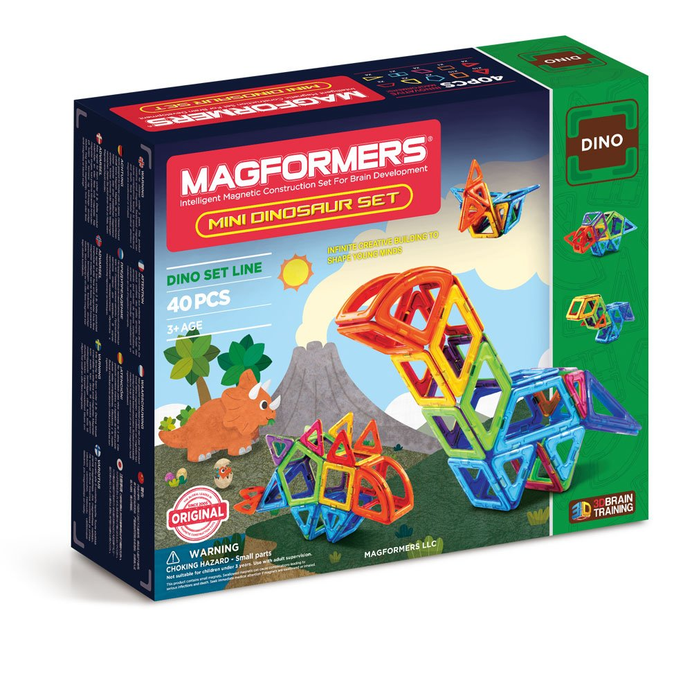 Magformers Mini Dinosaur Set (40 Pieces) Rainbow Colors Magnetic Building Blocks, Educational Magnetic Tiles Kit , Magnetic Construction STEM Animal Toy Set