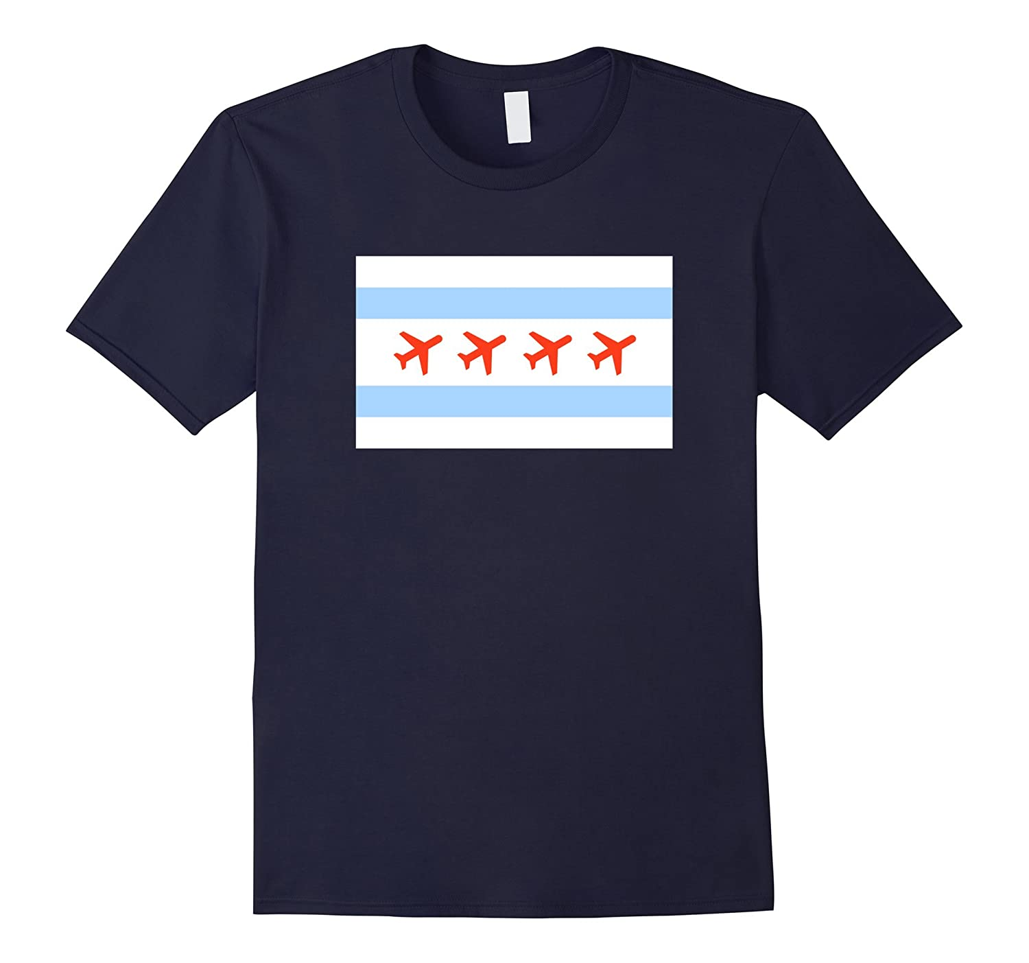 Chicago Airplane City Flag Flying Airport Funny T Shirt