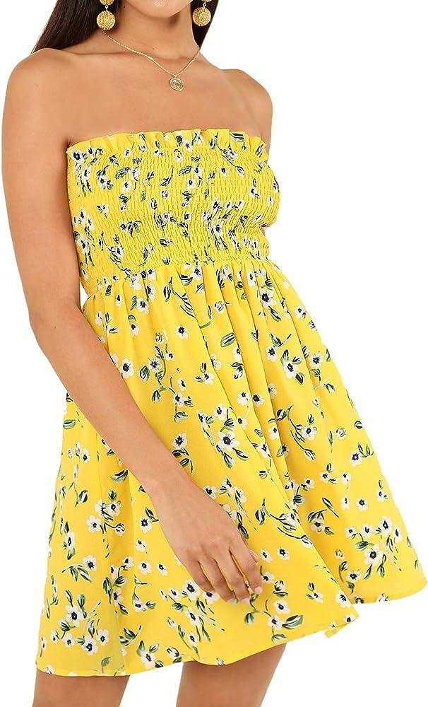 Flower Print Summer Beach Dress Yellow