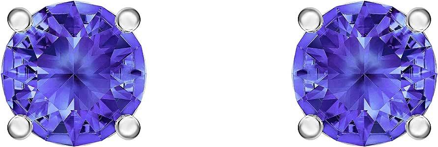 Swarovski Women's Rhodium Plated Blue Crystal Attract Stud Pierced Earrings 5512385