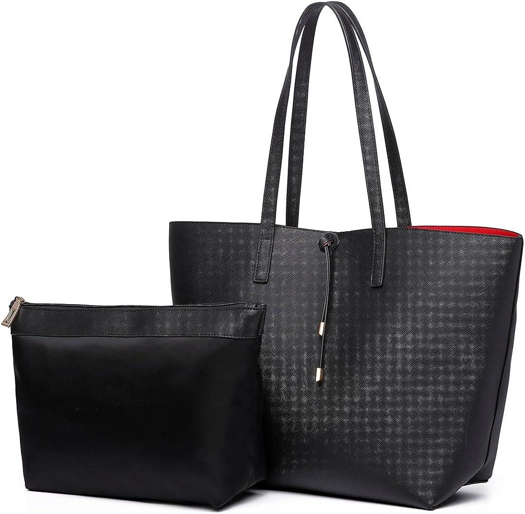 Women/'s Shoulder Bags Faux Leather Large Shopper Ladies Handbags With Pouch New