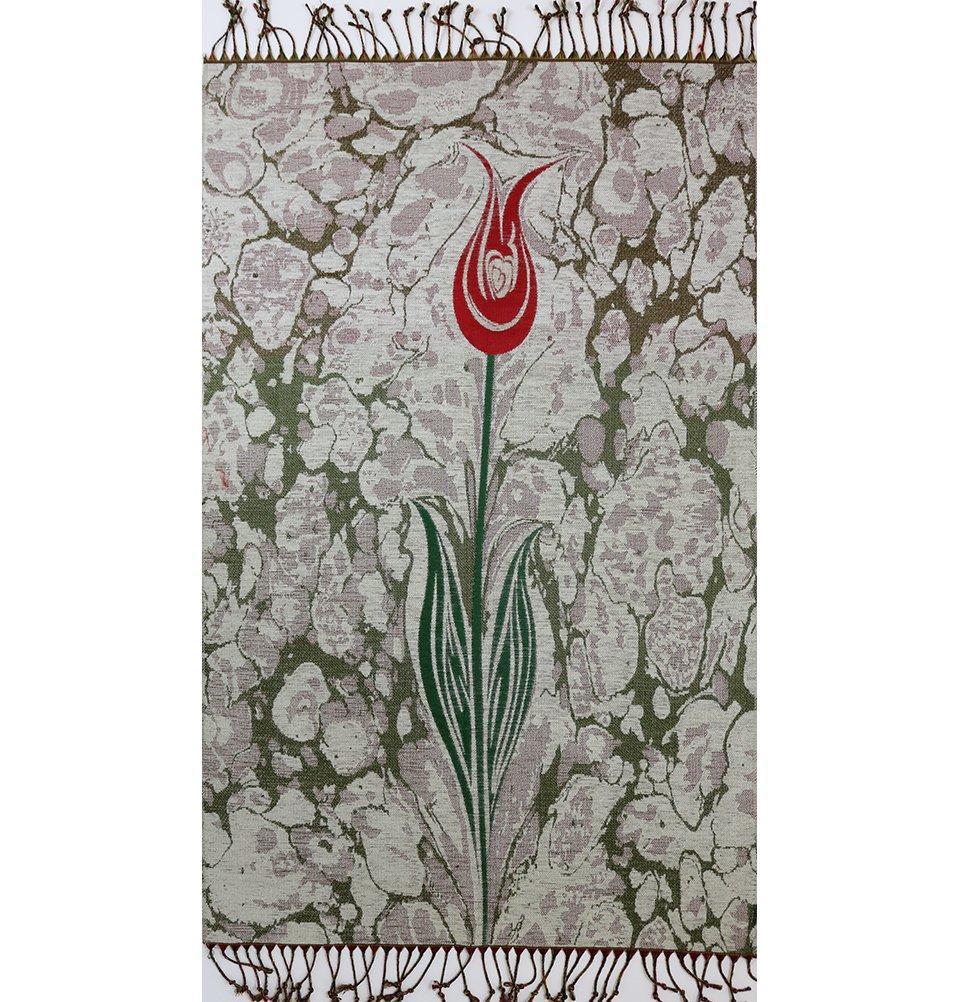 Islamic Prayer Mat - Chenille Muslim Namaz Sajjadah Janamaz Thin Turkish Tulip Ebru (Gray) Modefa HBebru04