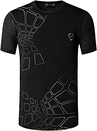 Jeansian Men's Sports Breathable Quick Dry Short Sleeve T-Shirts Tee Tops  Running Training LSL017