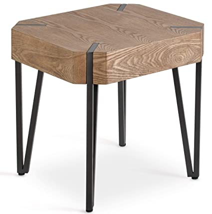 HILLENBRAND & CO Stylish Oak Side Table Living Room, Rustic Industrial Side  End Tables. Veneer Finish, Metal Nightstand, Accent, Sofa, Lamp, Bedside ...