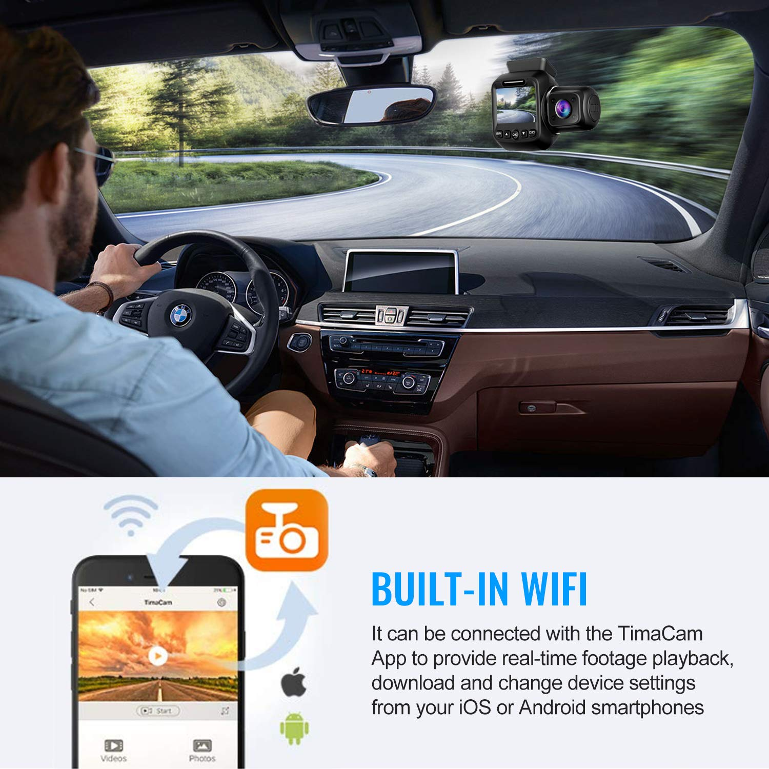 Upgraded Pruveeo P3 Dash Cam with Infrared Night Vision, Built-in GPS, WiFi, Dual 1080P Front and Inside, Dash Camera for Cars Uber Lyft Truck Taxi by Pruveeo (Image #5)