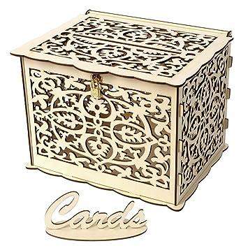 Maturegirl Wedding Card Box Diy Rustic Hollow Wedding Money Box Wood Card Box Gift Card Holder