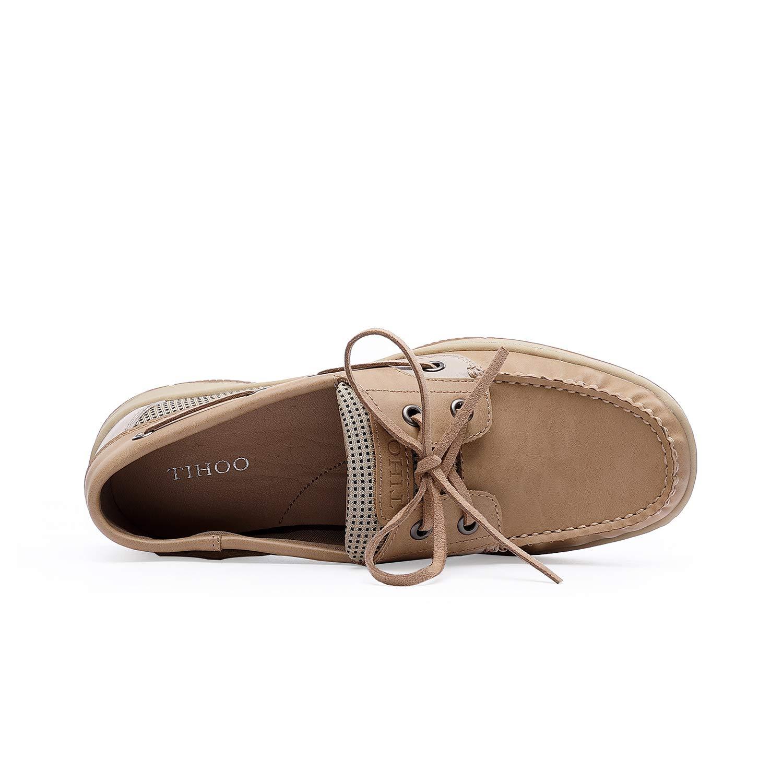 Tihoo Women\'s Comfortable Walking Loafer Slip On Casual Boat Shoe (8 M US, Oat)
